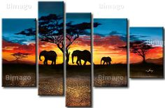 Ruta de los elefantes - cuadro sobre lienzo, cuadros de salidas y puestas del sol - Bimago