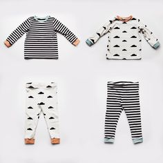 monochrome pyjamas for twins in nosh organics