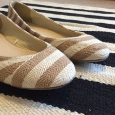 NWOT! Striped Dress Barn flats Tan and cream striped flats! New without tags!  Dress Barn Shoes Flats & Loafers