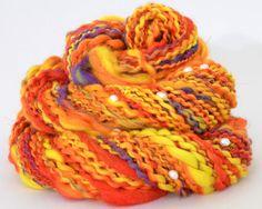 Handspun Yarn  Orange Merino Yarn  With Pearls by handcraftedgifts, $32.00