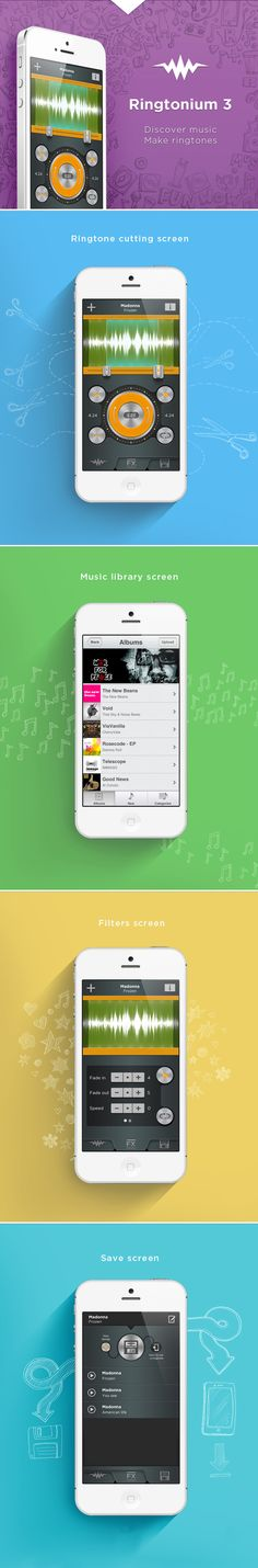 Ringtonium 3 Cool ringtone cutting application with huge library of free music by bamboo apps , via Behance *** #app #iphone #gui