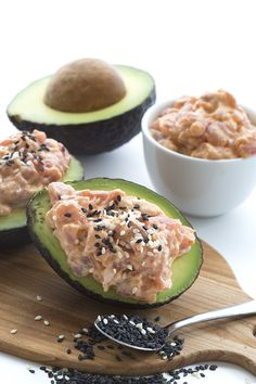 Get your low carb keto sushi on with this spicy tuna stuffed avocado recipe. It's paleo, easy to make, and delicious. You won't miss the rice! Stuffed avocados are all the rage right now and I am jumping on the bandwagon. While I do enjoy being creatively different, sometimes it's best not to buck the trend.Especially when it comes to avocados, because no matter what, avocados are always the right thing to do. Especially if they are California Avocados. So yes, here I am. This is me falling…