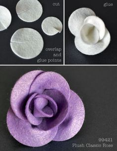 Plush Flower Tutorial - Outside The Box - Flores Paper Flowers Diy, Handmade Flowers, Flower Crafts, Fabric Flowers, Paper Roses, Felt Flower Diy, Felt Flower Tutorial, Rose Tutorial, Paper Flowers How To Make