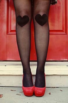 Tights with heart knees and cute red heels