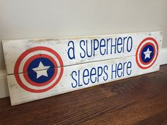 A Superhero Sleeps Here Pallet Sign by WhenHeNaps on Etsy