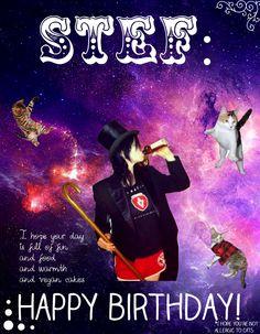 A birthday card for Stef via HAPPY BIRTHDAY STEF! LOVE, A+ AND THE INTERNET by Bri P.