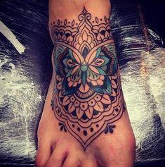 Butterfly Mandala Tattoo, Flower Tattoo Foot, Mandala Tattoo Design, Flower Tattoos, Side Tattoos, Trendy Tattoos, Key Tattoos, Skull Tattoos, Forearm Tattoos