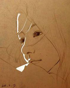 Portrait Art, Pencil Portrait, Portraits, Figure Drawing, Painting & Drawing, Art Sketches, Art Drawings, Toned Paper, Pen Art