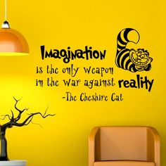 Alice In Wonderland Wall Decal Quote Imagination Is The Only Weapon Cheshire Cat Vinyl Stickers Home Decor Nursery Art Bedroom Dorm Q032 by FabWallDecals - Found on HeartThis.com @HeartThis | See item http://www.heartthis.com/product/486656860930876417?cid=pinterest