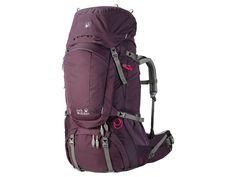Jack Wolfskin DENALI 60 WOMEN Grapevine - krosna. Odolný úzký trekový dvoukomorový batoh s kapacitou 60 litrů. Batoh je navržen tak, aby vyhovoval ženské anatomii. Zádový systém, který zaručuje bezkonkurenční pohodlí a svobodu pohybu.