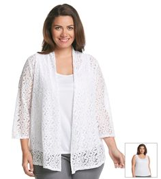 Notations® Plus Size Solid Lace Bed Jacket With Cami