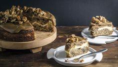 Cheesecake Stuffed Hummingbird Cake with Caramel Glaze