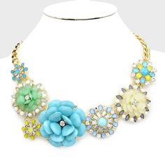 "HP Pearl Accented Flower Collar Necklace  • Color : White, Blue, Gold, Mint • Theme : Flower & Leaf, Pearl  • Necklace Size : 18"" + 3"" L • Pearl Accented Flower Collar Necklace NYC Chic Accessories Jewelry Necklaces"
