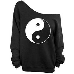 Yin Yang - Black Slouchy Slouchy Oversized Sweatshirt ($29) ❤ liked on Polyvore featuring tops, hoodies, sweatshirts, shirts, sweaters, blusas, jackets, unisex shirts, jersey shirts and over sized shirts