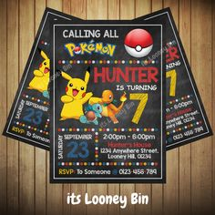 Pokemon Invitation / Pokemon Go Party / Pokemon Birthday Invite / Personalized Pokemon Invitations For Kids by ItsLooneyBin on Etsy https://www.etsy.com/listing/473425271/pokemon-invitation-pokemon-go-party