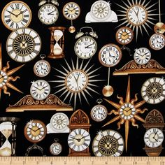 Timeless Clocks Black from @fabricdotcom  Designed by Dan Morris for Quilting Treasures, this cotton print fabric is perfect for quilting, apparel and home decor accents. Colors include black, white, brown, cream, gold and tan.