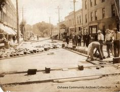 Paving the streets at the Four Corners, from the Oshawa Archives Collection