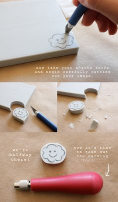 Easy DIY tutorial by Minna So on how to make hand-carved rubber stamps! Make your own stamps to create art prints, greeting cards and more! Stamp Printing, Printing On Fabric, Crafts To Do, Paper Crafts, Homemade Stamps, Make Your Own Stamp, Eraser Stamp, Tea Blog, Diy Accessoires