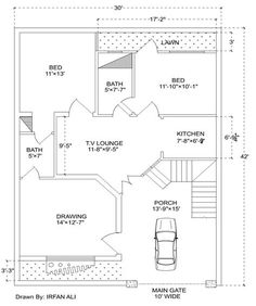 A beautiful house plan with all Facilities.Both Rooms Has Attached Bath proper ventilated. 5 Marla House Plan, 2bhk House Plan, Model House Plan, Simple House Plans, House Layout Plans, Duplex House Plans, Craftsman Style House Plans, Dream House Plans, House Layouts