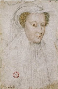 Mary Stuart in white mourning  French artist François Clouet 1510-1572