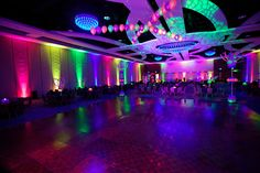 Dance Floor Helium and Uplights Party People Celebration Company