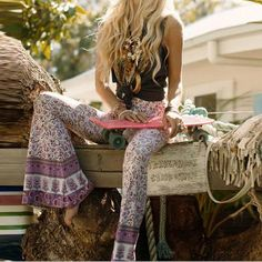 """Boho Bell Bottom Pants """"Gypsy Love"""" Lilac Bells Purple & Pink Print Hippie Bellbottoms Size Small Medium Or Large"""