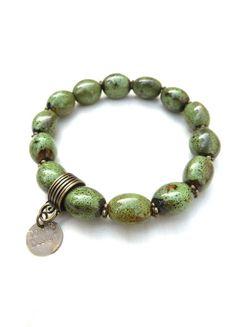 bronze bracelet with green ceramic beads (S-538b) van Dome's Design op DaWanda.com