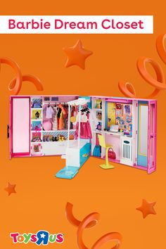 Barbie's Dream Closet by is BIG! 💖 We're talking over two feet of play area! It includes five outfits and over 30 fashions and accessories to start their collection, plus more than enough space to store it all. A rotating clothing rack, desk, full-length mirror and doll-stand make sure that Barbie is always wearing the latest fashions and lookin' great! 👚