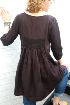 free tunic sewing patterns for women - Google Search (smocking detail)