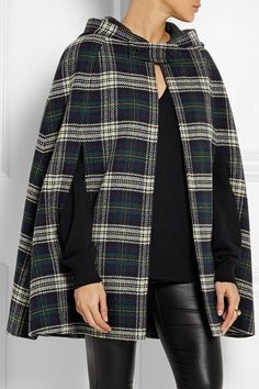 Multicolored wool Button and hook fastenings at front wool; Saint Laurent Boots, Cashmere Hat, Wool Cape, Plaid Design, Plaid Pattern, Get Dressed, Timeless Fashion, Autumn Winter Fashion, My Style