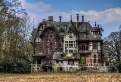 """Chateau Nottebohm, municipality of Brecht, province of Antwerp, Belgium (Vince)  """"This abandoned home belonged to a Mr. Nottebohm and dates back to the early 20th century. There are rumors  that at one time the wealthy German family lived in this grandiose Belgian manor but left sometime during the second World war. The eccentrically styled house has been abandoned ever since."""