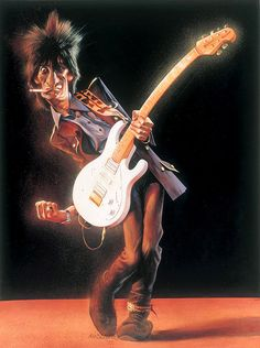 26 Beautiful Paintings and Caricatures - Ronnie Wood by Sebastian Kruger Funny Caricatures, Celebrity Caricatures, Celebrity Drawings, Keith Richards, Ronnie Wood, Charlie Watts, U2 Poster, Sebastian Kruger, Ron Woods
