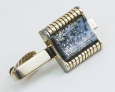 Vintage Tie Clip  Flecked Turquoise Faux Silver by CuffsandClips, $15.50