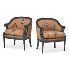 Louis XVI Style, Contemporary pair of tub lounge chairs, lacquered wood, embroidered upholstery, USA, 1980s