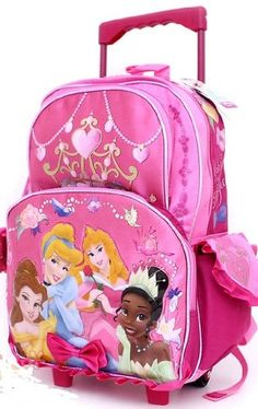 "Disney Princess Rolling Backpack in Pink, 16"" Large Wheeled School Bag For Children (Dimension: 16"" x 11.5"" x 5.5""; Weight: 2.1lb)"