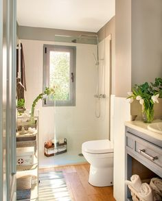 The bathroom is an essential part of the house, where it is good to take care of yourself and relax to fill with serenity. Discover our instructions for a Zen bathroom with our 8 decorating ideas: you have beautiful hours… Continue Reading → Zen Bathroom, Bathroom Toilets, Bathroom Fixtures, Small Bathroom, Master Bathroom, Modern Shower, Shower Remodel, Bath Design, Shower Tub