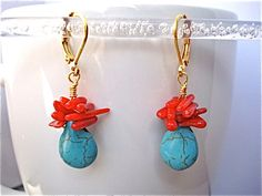 Turquoise Teardrops and Red Coral Earrings by tocijewelry on Etsy, $20.00