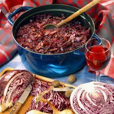 Chou rouge au vin et lardons