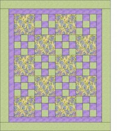 "New from Heirloom Elegance!  Three yard quilt pattern, Hopscotch.  This pattern is very easy and quick to create.  It would be create to use for your girls night in, quilt retreats, charity quilts, etc.  All that is required is one yard each of three coordinating fabrics!  The finished quilt will measure approximately 45"" x 54"".  A perfect lap quilt."