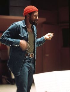 """GET IT ON, BABY: Marvin Gaye directing his musicians at Motown's Los Angeles studios while recording Let's Get It On, c. 1973. Photo © Jim Britt """