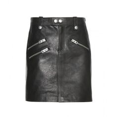Coach Leather Skirt (3.080 RON) ❤ liked on Polyvore featuring skirts, bottoms and black