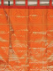 """Orange Mandala Gold Brocade Curtain - Stylish Lined Indian Window Panel 82"""""""