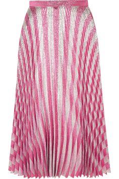 GUCCI Pleated metallic striped stretch-silk midi skirt