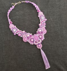 soutache necklace necklace with tassel beaded handmade by OmLak