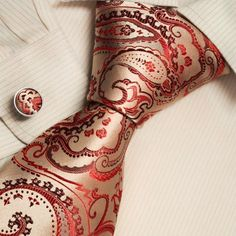 Amazon.com: Red pattern designer for men goldenrod Paisleys Italian style silk neck ties cufflinks set A2028 One Size Goldenrod: Clothing