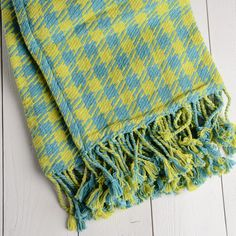 Twill Houndstooth Cotton Throw Blanket in Lime and Blue.
