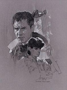 Blade Runner poster sketch by Drew Struzan Blade Runner Poster, Blade Runner Art, Cool Pencil Drawings, Art Inspiration Drawing, Pop Culture Art, Movie Poster Art, Indiana Jones, Comic Art, Illustrators