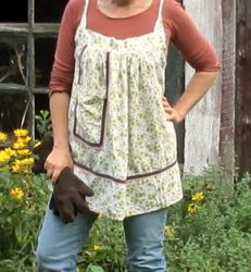 a vintage apron into a blouse. don't laugh, I need one of them.