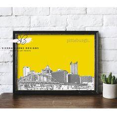 Pittsburgh Bridges, Pittsburgh Art, Pittsburgh Skyline, Travel Wall Art, Gold Color Scheme, Skyline Art, Ohio River, Watercolor Design, Custom Art