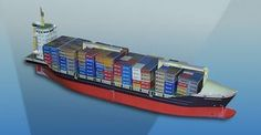 Simple Container Ship Paper Model Free Template Download - http://www.papercraftsquare.com/simple-container-ship-paper-model-free-template-download.html#Container, #Ship